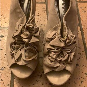 Bamboo taupe wedges